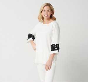 Linea by Louis Dell'Olio Pullover Top w/ Lace Applique on Sleeve Ivory/Black 12
