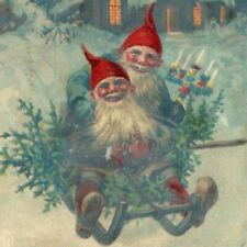 1903 Christmas Tree Gnomes Raphael Tuck. Postcard F93