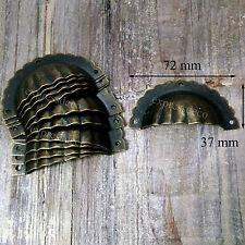 15 x POIGNEE COQUILLE 72MM + 45 Vis FER TIROIR MEUBLE ANCIEN DECORATION METIER