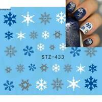 30Sheets Nail Art Water Decals Stickers Christmas Snow Blue Snowflakes Reindeers