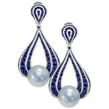 925 Sterling Silver Blue Round CZ & Pearl Solid Dangle Earrings party Jewelry