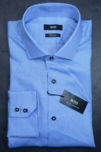Hugo Boss Men's Gorman Easy Iron Reg Fit Blue Striped Cotton Dress Shirt 41 16