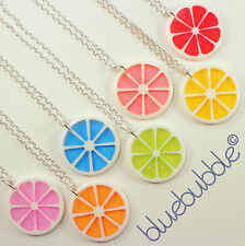 FUNKY CITRUS FRUIT SLICE NECKLACE CUTE KITSCH RETRO SWEET CANDY ACID DANCE CHARM