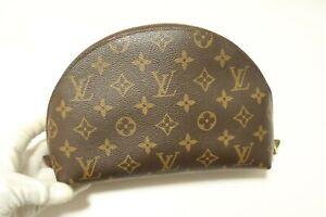 Authentic Louis Vuitton Monogram Trousse Demi Ronde Pouch #7505