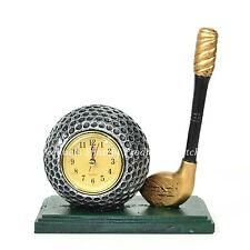Handmade Golf Ball & Stick Resin Sculpture with Clock Christmas Gifts Home Decor