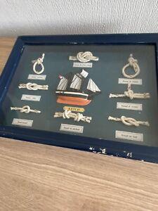 Vintage Nautical French Framed Knots & Schooner 3 D Picture, 8 knots.