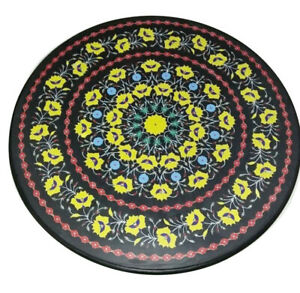 """24"""" Black Marble Coffee Table Top Inlay Mosaic Yellow Floral Hallway Decors B813"""
