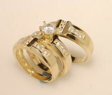 Gold  Trio Bridal Ring Wedding & Engegement Bride & groom Set Brand New
