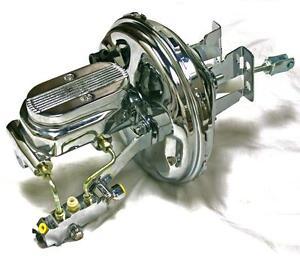"Chevy Tri-5 Disc Drum 9"" Chrome Power Brake Booster Milled Master Cylinder Kit"