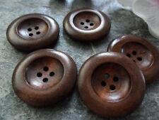 (2) 5 Knopf Knöpfe ø 35 mm 3,5 cm Holz Kaffeebraun Edel-Look Jacke Tracht Poncho
