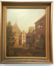 German Signed w Monogram Heidelberg Castle Ruins European Landscape Painting 19C