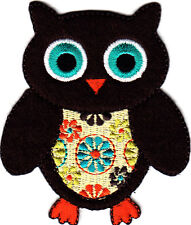 Brown Owl Birds Cute Children Iron On Embroidered Applique Patch