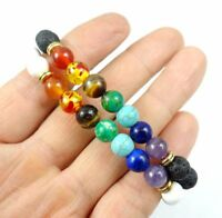 7 Chakra Healing Beaded Natural Lava Stone Tridacna Stone Diffuser Bracelet