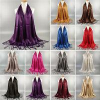 Womens Muslim Islamic Tassel Hijab Scarf Glitter Pashmina Long Shawl Wrap Stole