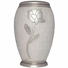 ADULT WHITE CREMATION URNS, LARGE NEW FUNERAL URN FOR HUMAN ASHES, ROSE