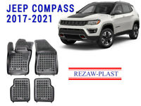All Weather Rubber Floor Mats Set For JEEP COMPASS 2017-2021 Suv Black 3D C