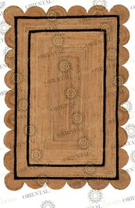 Double Border Jute Black Hand Made Rug, Bohemian Decor, Customize in Any Size...