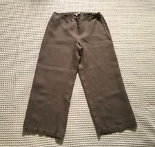EILEEN FISHER 100% Linen Wide Leg Side Zip Crop Capri Pants $178 XS Extra Small