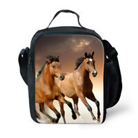 Insulated Lunch Box Horse Print Cooler Lunchbag Totes Picnic Storage Bag For Kid