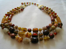 Vintage Orange & Brown & Red Art Glass Beaded Triple Strand Necklace • Stunning!