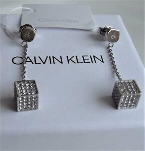 CALVIN KLEIN STAINLESS STEEL CLEAR CRYSTAL CUBE DROP EARRINGS BNWT BOXED RRP £99