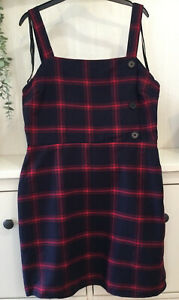 Primark Womens Red & Black Tartan Checked Pinafore Dress Size 12. New With Tags