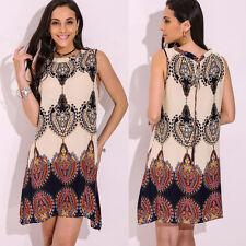 Boho Women Plus Size Summer Sleeveless Floral Printed Mini Sun Dress Tops Blouse