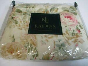 RARE New Ralph Lauren WOODSTOCK GARDEN Pink Rose Floral Ruffled Bedskirt - Queen