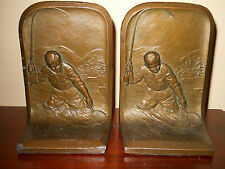 RARE ANTIQUE FLY FISHING FISHERMAN BOOKENDS GREAT BRONZE PATINA NUMBERED ON BACK