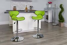 Green 2 Piece Curved Seat Upholstered Bar Stool Swivel Adjustable Height Dining