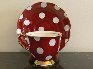 Royal Albert Red Cup and Saucer with White Polka Dots