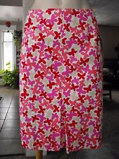 NWT Maximo QVC Red Pink Floral Skirt Pleat Hem Front Size 12 Stretch