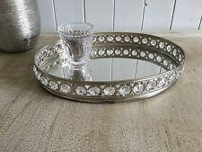 Oval Silver Mirrored Decorative Tray With GEMSTONES