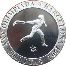 ESPAÑA SPAIN 2000 PESETAS PLATA 1990 JUEGOS OLIMPICOS OLYMPICS CESTA PUNTA PROOF
