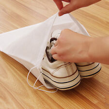 5pcs White Non-woven Drawstring Travel Shoes Storage Organiser Bag Dust Pouch