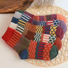 AU Stock 5 Pairs Womens Cashmere Wool Thick Warm Socks Winter Striped Socks Gift