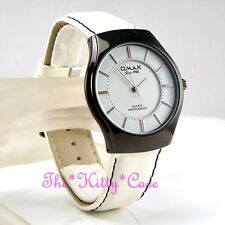 Swiss OMAX Hematite Plt S.Steel Seiko Movement White Leather Unisex Watch SGL011
