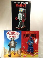 Robert Lesser Antique Tin-Toy Robot Popcorn Posters Lithograph Prints Lot of 3