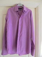 Mens Formal shirt M&S Luxury cotton/Silk size 15.5 Pink/White stripe vgc