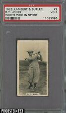"""1926 Lambert & Butler Golf #2 R.T. """" Bobby """" Jones RC Rookie  PSA 3 VG"""