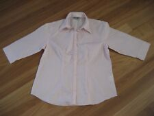 LADIES PINK STRIPE 3/4 SLEEVE BUTTON DOWN POLYCOTTON TOP BY URBAN NATURE SIZE 14