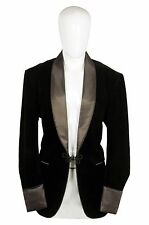 Men Elegant Stylish Black with Brown lapels Smoking Jacket Party Wear Blazers