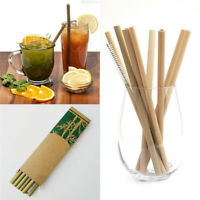 12Pcs Bamboo Drinking Straws Reusable Eco-Friendly Straw Cleaner Tools Kitchen