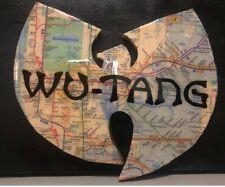 WU-TANG Wood Artwork Logo Signed Illegible Manhattan & Brooklyn Subway Map