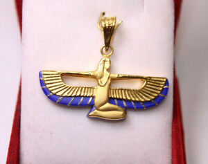 Egyptian Handmade Queen Isis wings 18K Yellow Gold Pendant Lapis Lazuli 5.5 Gr