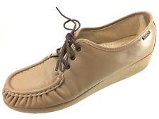 SH27 SAS Women 11.5N Tan Leather Oxford Comfort Shoes Sneakers Moc Toe USA Made