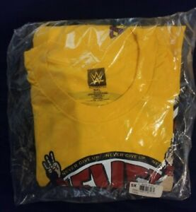 JOHN CENA WWE AUTHENTIC U CAN'T C ME NEVER GIVE UP YELLOW SHIRT 5X NEW  sealed