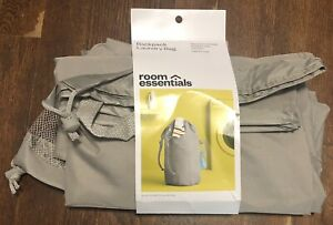 Room Essentials Gray Polyester Backpack Laundry Bag w/ Pocket