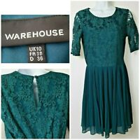 Warehouse Skater Fit & Flare Lace Chiffon Pleated Short Sleeve Dress UK 10 A326
