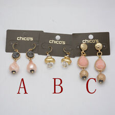 Chico's jewelry faux pearl alloy beads ball gold tone hoop drop earrings unique